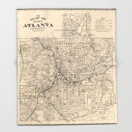 1906 Map of Atlanta, GA Throw Blanket