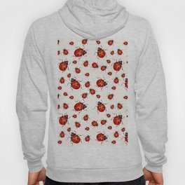 LOVING RED LADY BUGS  ON WHITE COLOR DESIGN ART Hoody