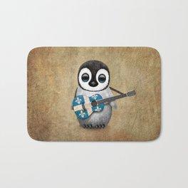 Baby Penguin Playing Quebec Flag Guitar Bath Mat
