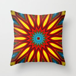 Bright Multi Color Mandala Throw Pillow