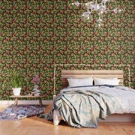 Strawberries Botanical Wallpaper