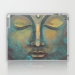 Rusty Golden Copper Buddha Face Watercolor Painting Laptop & iPad Skin