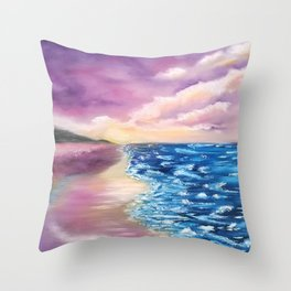 As Is, Beach Scene, Colorful Beach with beautiful blue sea and sky Throw Pillow