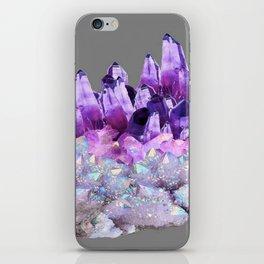 SPARKLY WHITE QUARTZ & PURPLE AMETHYST CRYSTAL iPhone Skin
