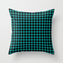 Black and Teal Green Diamonds Throw Pillow