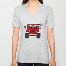 Jeep Wave Girl - Red Unisex V-Neck