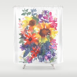 Rainy Day Sunflowers Shower Curtain