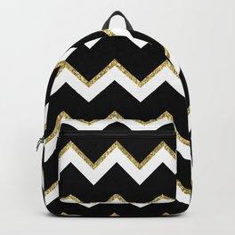 Black Gold White Chevron Pattern Backpack