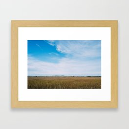 Train, Farm Fields and Sky Framed Art Print