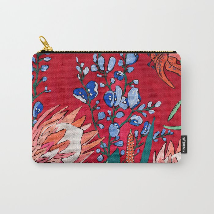 Red and Blue Floral with Peach Proteas Carry-All Pouch