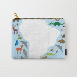 South America sloth anteater toucan lama armadillo manatee monkey dolphin Maned wolf raccoon jaguar Carry-All Pouch