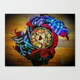 Roses and Wood Canvas Print