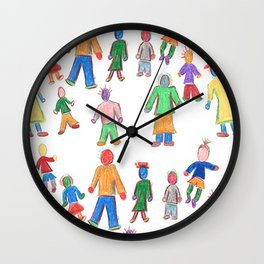 Multicolor People Multiples Wall Clock