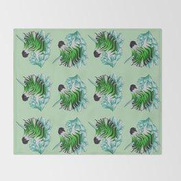 Green Zebracorn Throw Blanket