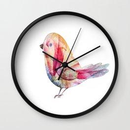 Cute Colorful Watercolor Bird Illustration Wall Clock