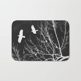 Crows Flying Over Trees Negative Silhouette Bath Mat