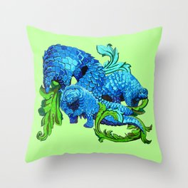 Floral Pangolins Throw Pillow