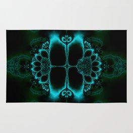 Dark Forest Lotus Fractal Art Print Rug