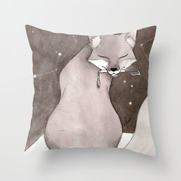 Myobu Kitsune Throw Pillow