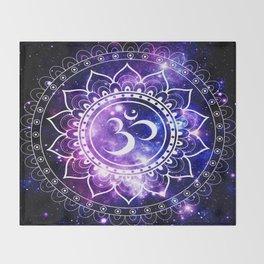 om mandala: purple blue space Throw Blanket