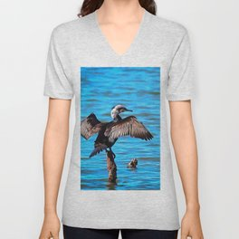 Cormorant Wings on Blue Water Unisex V-Neck