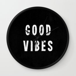 Grungy Distressed Ink Good Vibes | White on Black Wall Clock