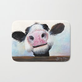 Nosey Cow ' HEY! HOW'S IT GOIN'? ' by Shirley MacArthur Bath Mat