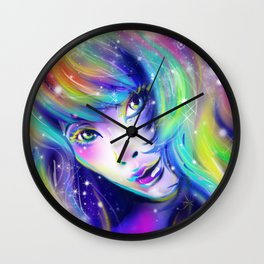 rainbow girl galaxy hair colorful eyes look Wall Clock
