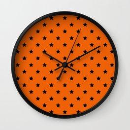 Orange and Black Stars Pattern Wall Clock