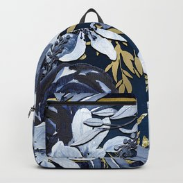 Navy Blue & Gold Watercolor Floral Backpack