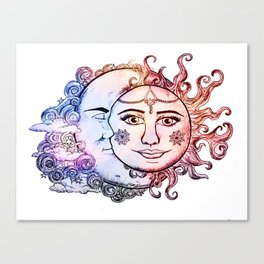 colored Sun and Moon Canvas Print