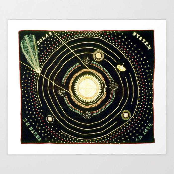 Solar System quilt by Ellen Harding Baker (1886) Kunstdrucke