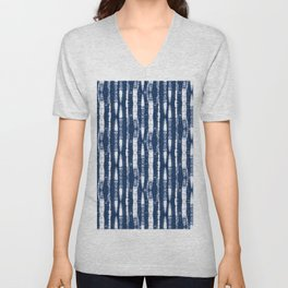 Shibori Stripes Indigo Blue Unisex V-Neck