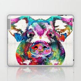 Colorful Pig Art - Squeal Appeal - By Sharon Cummings Laptop & iPad Skin