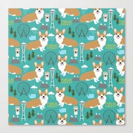 Corgi seattle washington welsh corgi pattern print dog lover gifts space needle ferris wheel coffee Canvas Print