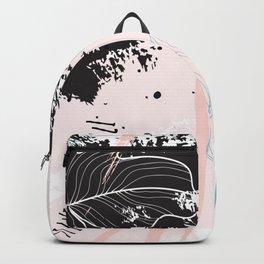 Exotic leaves on grunge background Backpack