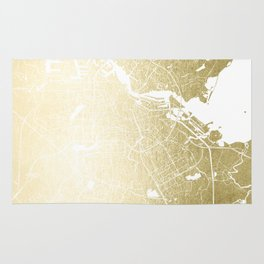 Amsterdam Gold on White Street Map Rug