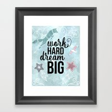 Work Hard Dream Big - Space Fox Hustle Framed Art Print