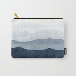 Indigo Abstract Watercolor Mountains Carry-All Pouch