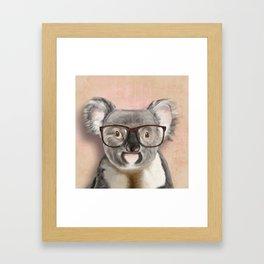 Funny koala with glasses Framed Art Print