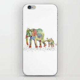 Colorful Elephant Family iPhone Skin