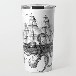 Octopus Attacks Ship on White Background Travel Mug