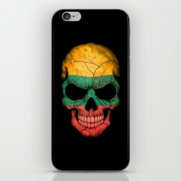 Dark Skull with Flag of Lithuania iPhone Skin