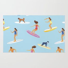 surfers watercolor pattern Rug