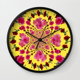 PINK-RED ROSES ON YELLOW-PINK ART Wall Clock