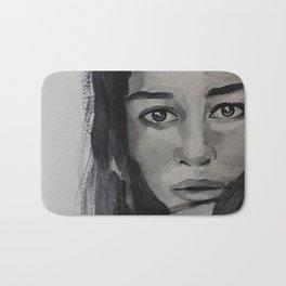 Watercolor portrait beautiful girl with dark hair Bath Mat