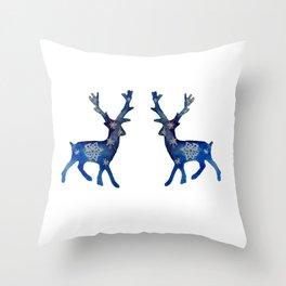 Winter Deer Snowflakes Throw Pillow
