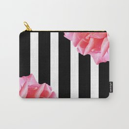 Pink roses on black and white stripes Carry-All Pouch