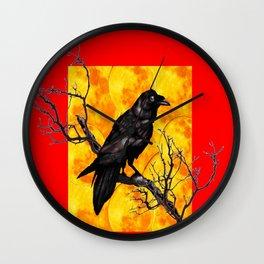 Oriental Style Red Crow Tree Art Wall Clock