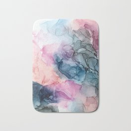 Heavenly Pastels: Original Abstract Ink Painting Bath Mat